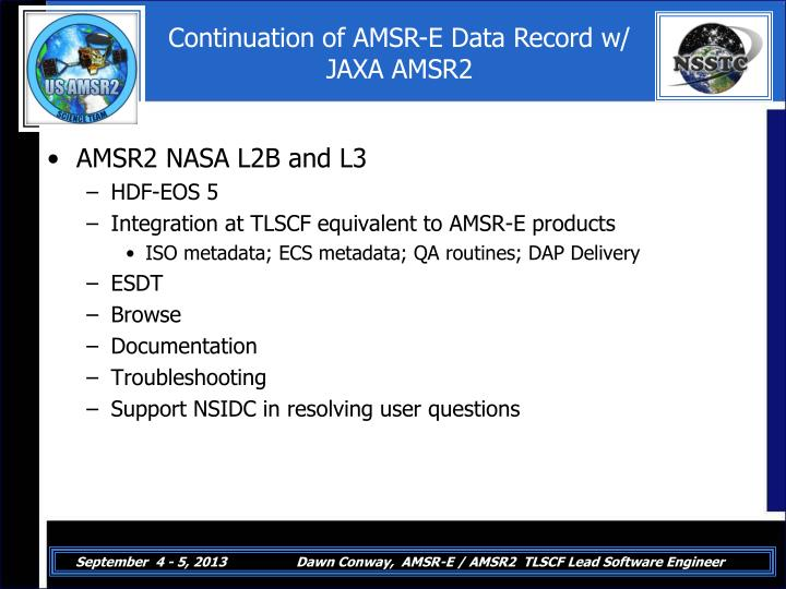Continuation of AMSR-E Data Record w/