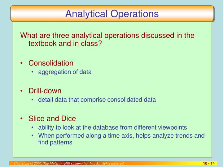 Analytical Operations