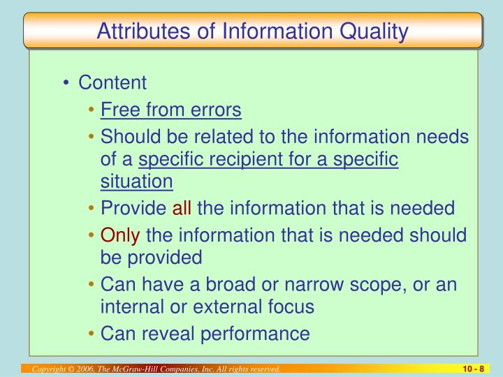 Attributes of Information Quality