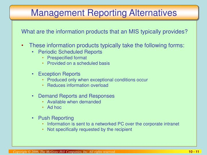 Management Reporting Alternatives