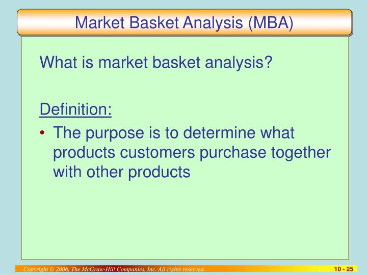 Market Basket Analysis (MBA)