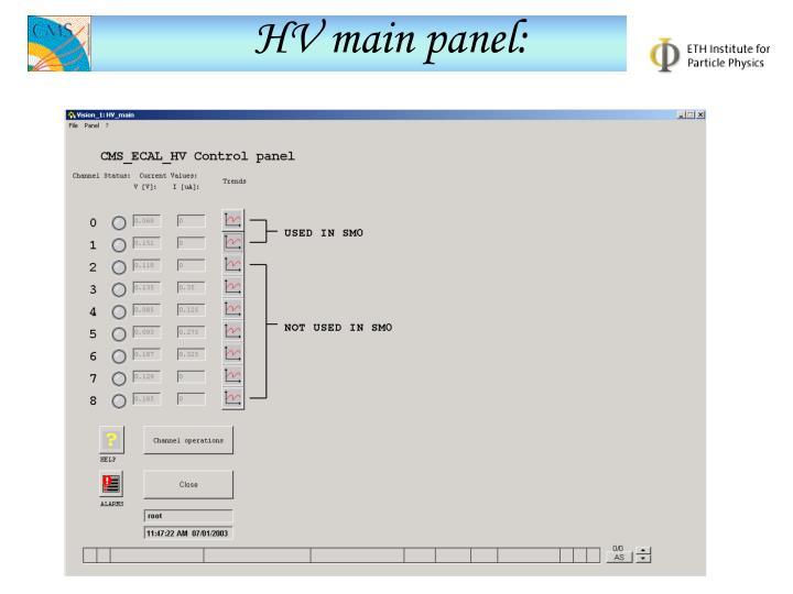 HV main panel: