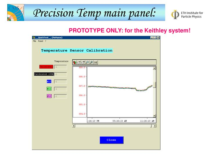 Precision Temp main panel: