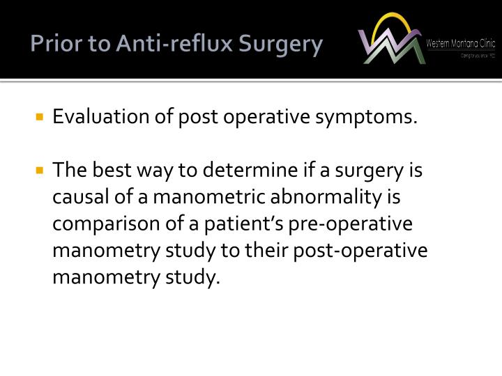 Prior to Anti-reflux Surgery