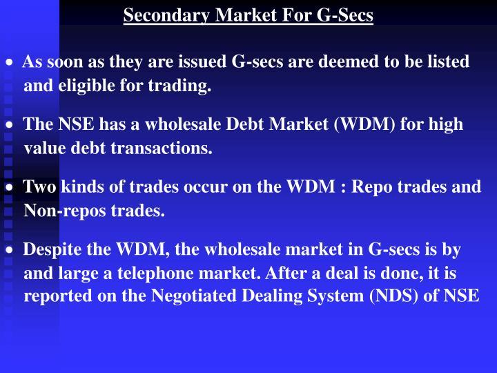Secondary Market For G-Secs