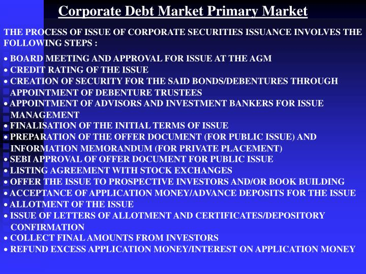 Corporate Debt Market Primary Market