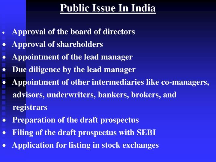 Public Issue In India