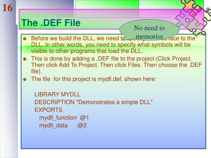 The .DEF File