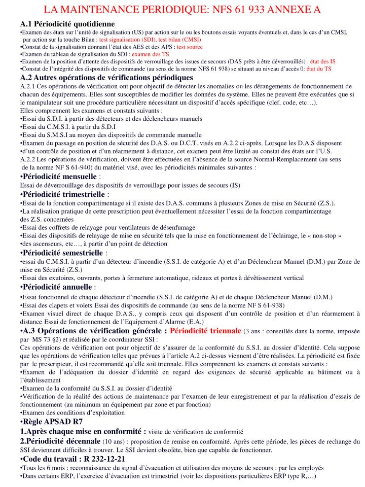 LA MAINTENANCE PERIODIQUE: NFS 61933 ANNEXE A