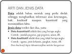 arti dan jenis data