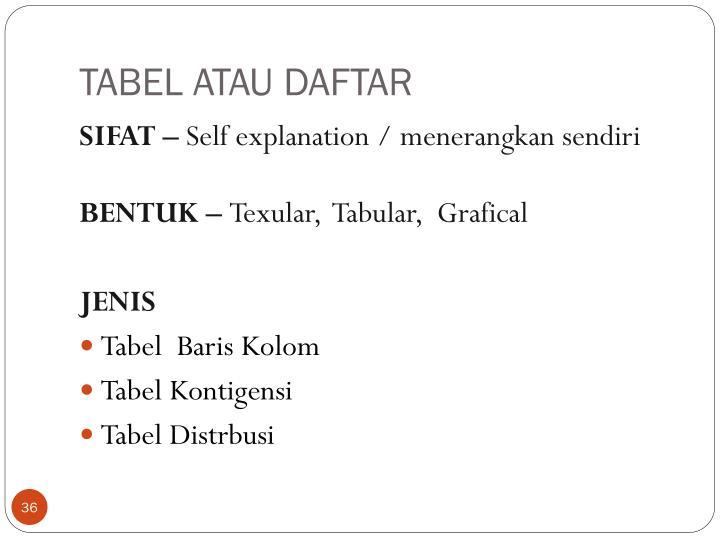 TABEL ATAU DAFTAR