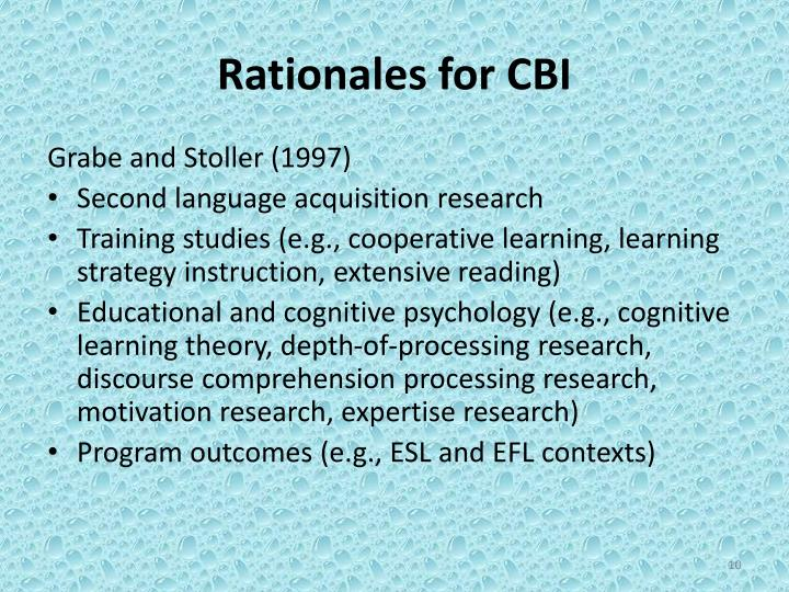 Rationales for CBI