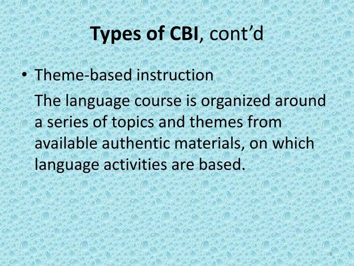 Types of CBI