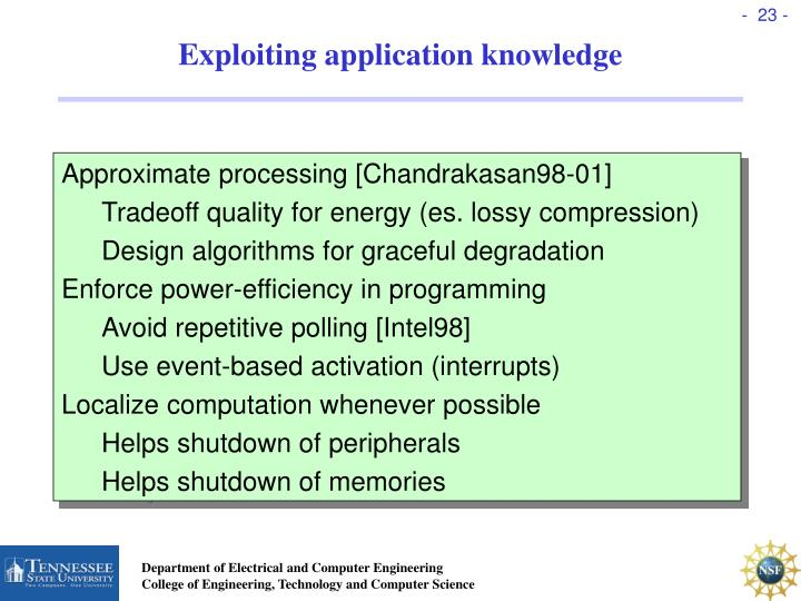 Exploiting application knowledge