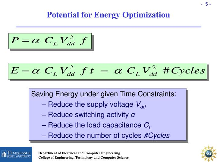 Potential for Energy Optimization