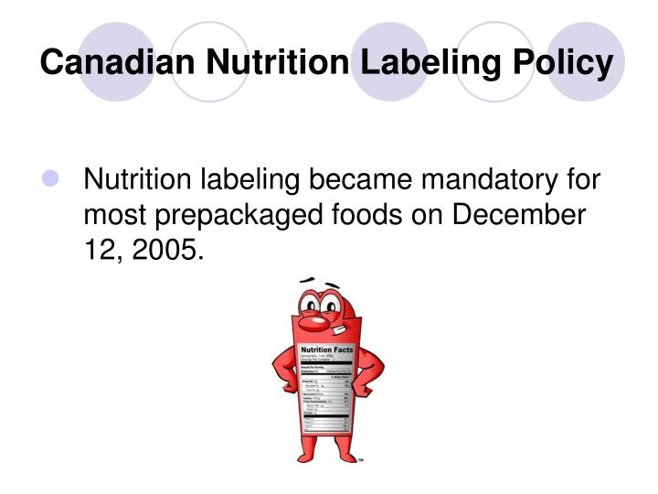 Canadian Nutrition Labeling Policy
