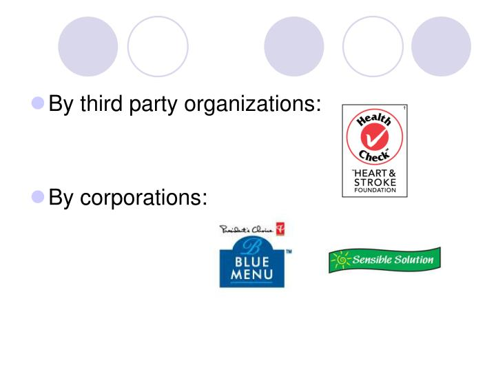 By third party organizations: