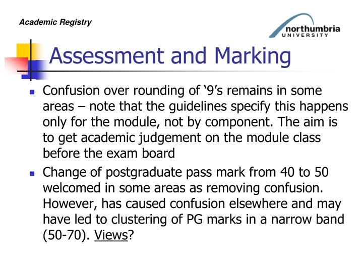Assessment and Marking