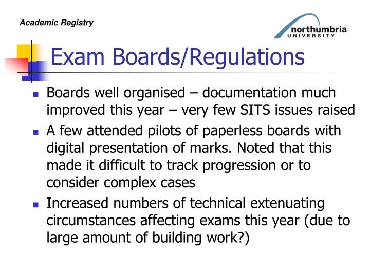 Exam Boards/Regulations