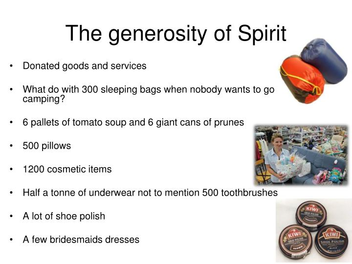 The generosity of Spirit