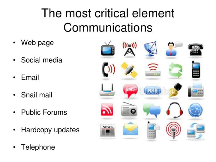 The most critical element Communications