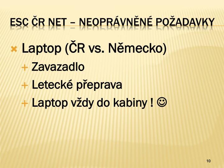 Laptop (ČR vs. Německo)