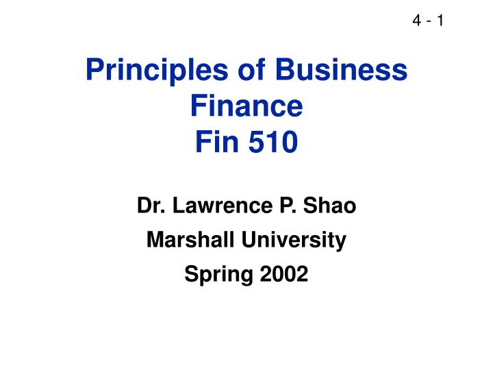 Principles of Business Finance