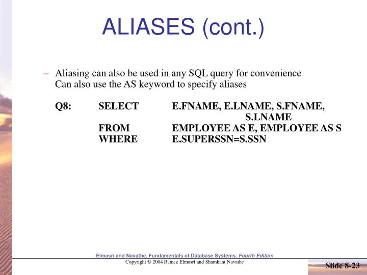 ALIASES (cont.)