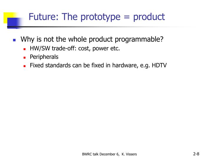 Future: The prototype = product