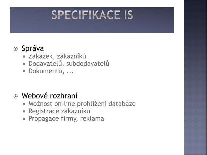 Specifikace