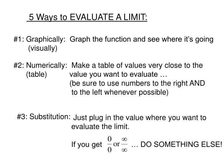 5 Ways to EVALUATE A LIMIT: