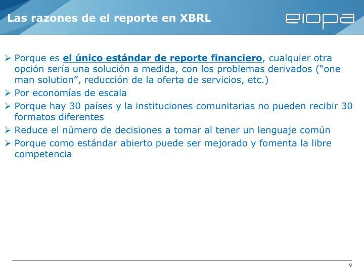 Las razones de el reporte en XBRL