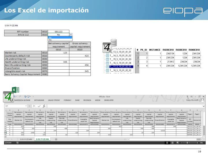 Los Excel de importación