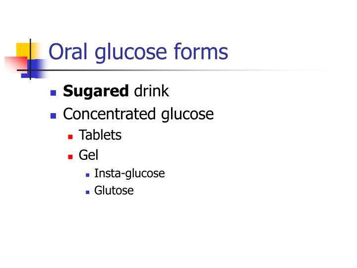 Oral glucose forms