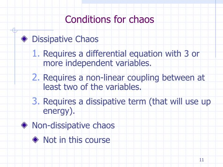 Conditions for chaos