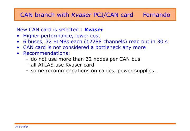 Can branch with kvaser pci can card fernando