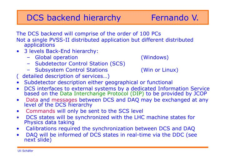 DCS backend hierarchy		Fernando V.