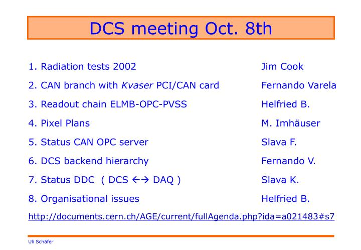 DCS meeting Oct. 8th