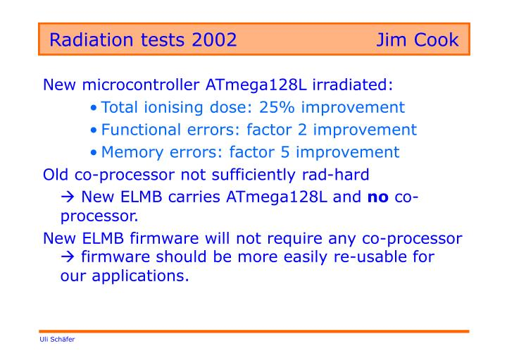 Radiation tests 2002			Jim Cook