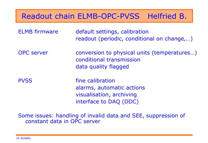 Readout chain ELMB-OPC-PVSS   Helfried B.