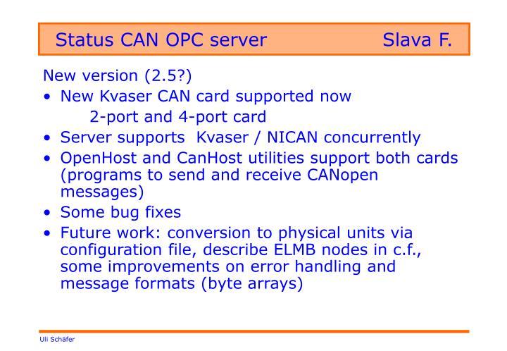 Status CAN OPC serverSlava F.