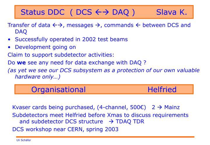 Status DDC  ( DCS
