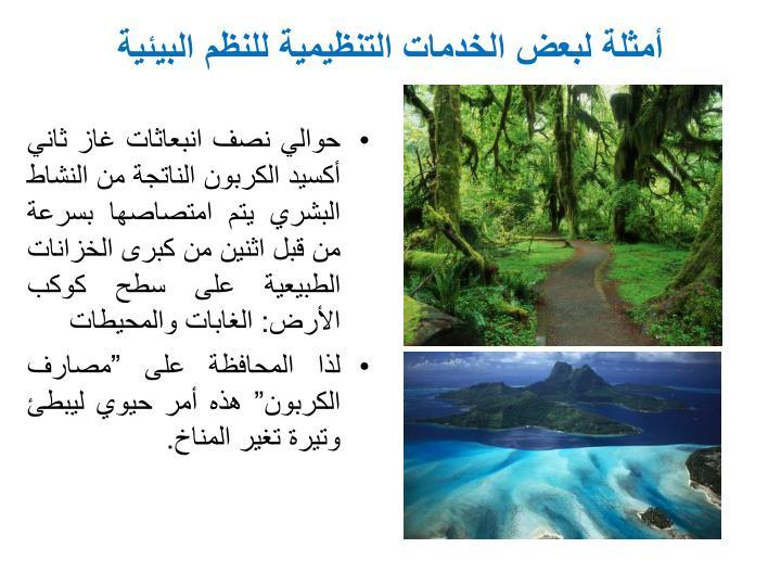 أمثلة لبعض الخدمات التنظيمية للنظم البيئية