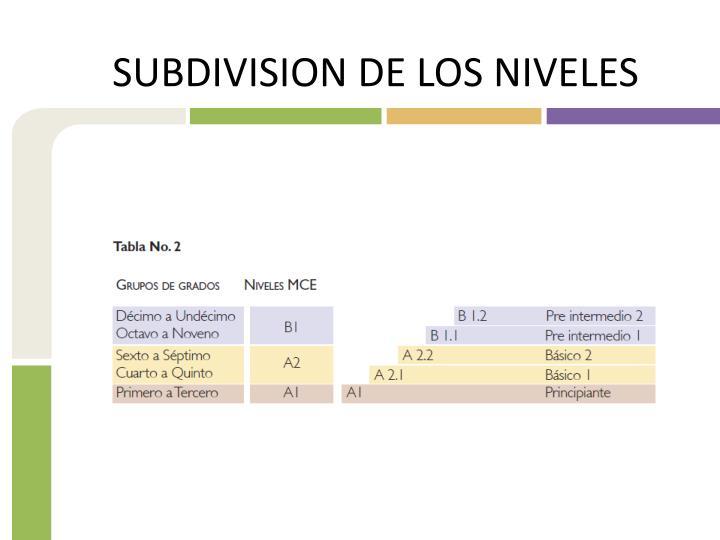 SUBDIVISION DE LOS NIVELES