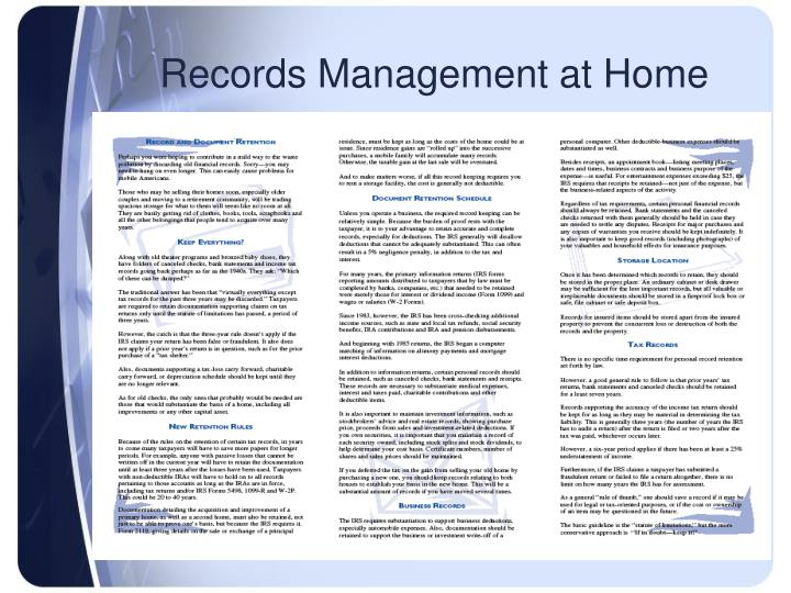 Records Management at Home