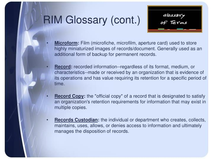 RIM Glossary (cont.)