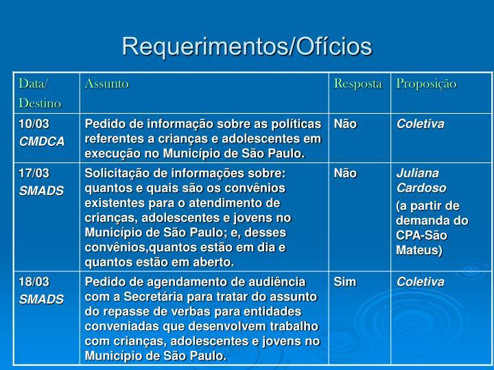Requerimentos/Ofícios