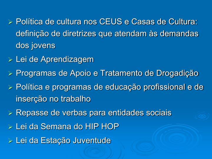 Política de cultura nos CEUS e Casas de Cultura: definição de diretrizes que atendam às demandas dos jovens