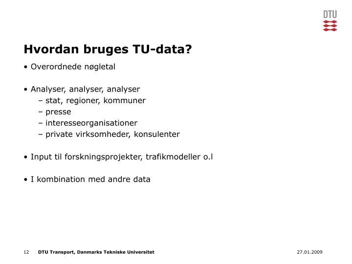 Hvordan bruges TU-data?
