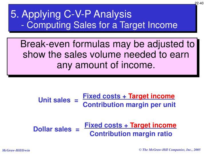 5. Applying C-V-P Analysis